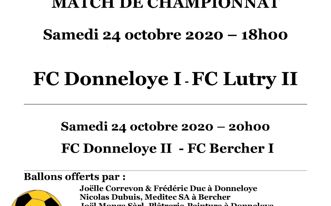 Matches du 24 octobre 2020
